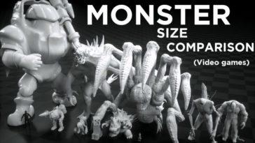 Comparación del tamaño de los de monstruos en los videojuegos