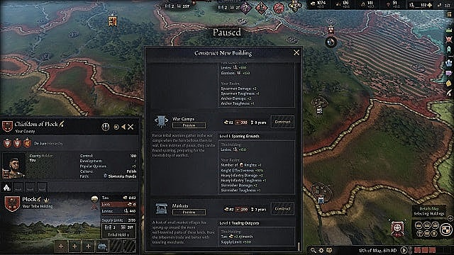 Menu showing different ways that a holding can be improved, such as with war camps or markets.