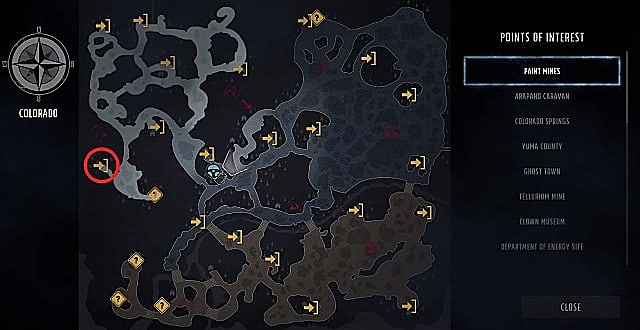 Wasteland 3 map showing the location of the The Bleeding Edge skill book in Snowed Inn Resort.