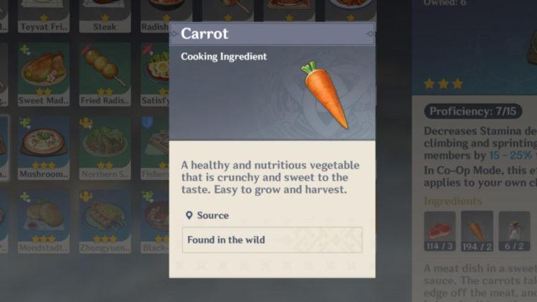 Genshin Impact - Dónde encontrar Zanahorias 1