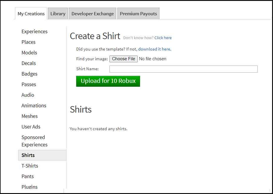 Roblox Create Clothing - Shirt